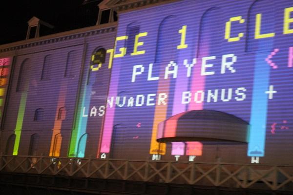 ハウステンボス、ゲームのプロジェクションマッピングの様子の写真