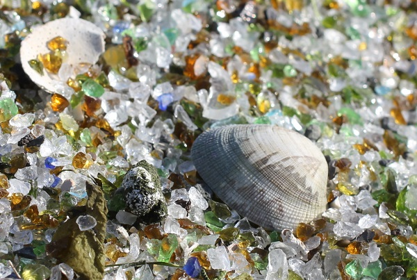 ガラスの砂と浅利の殻の写真
