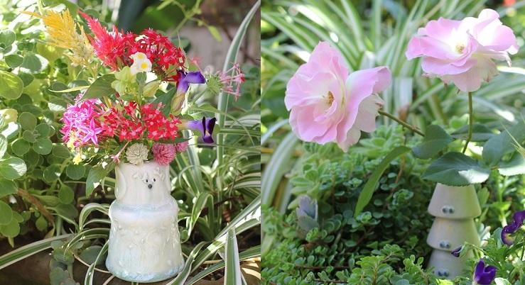椎猫白魚(しいね しらうお)さんの花瓶で、庭の花を生けた写真
