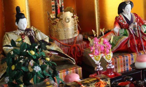 長崎街道松原宿ひな祭り、雛飾りのアップ写真