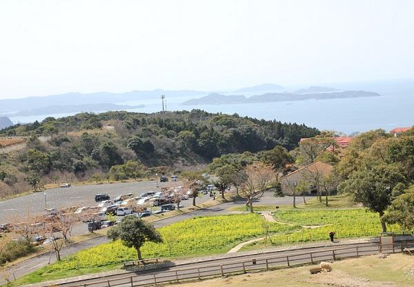 里山へ向かう道から見えるあぐりの丘、駐車場の風景写真
