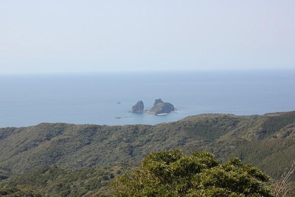 矢筈岳山頂からの景色の写真(神楽島、海)