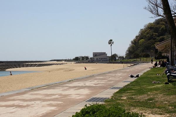 結の浜マリンパークのビーチやベンチの写真