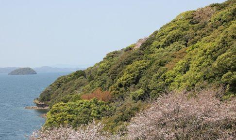 崎野自然公園、大村湾と半島のようす