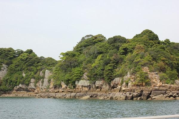 九十九島の海、ヨットから見える島々の写真