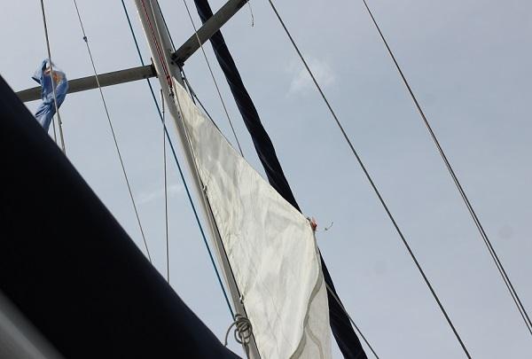 ヨットの帆が張られる様子の写真
