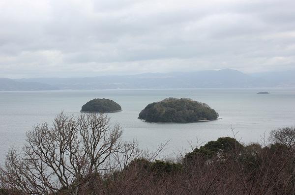 四本堂公園の展望台からの冬景色 大村湾