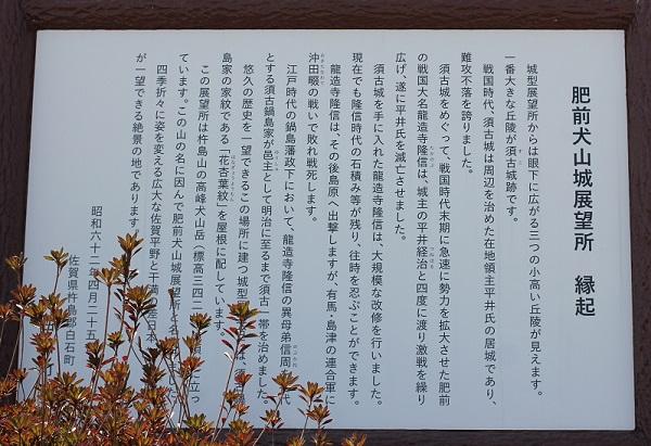 肥前犬山城展望所の緑起、案内看板の写真