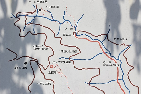 シャクナゲ高原の案内地図版の写真