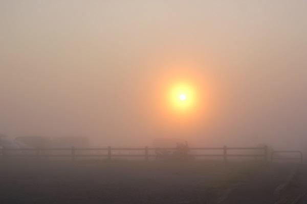 大観峰(だいかんぼう)の朝日、日の出の様子