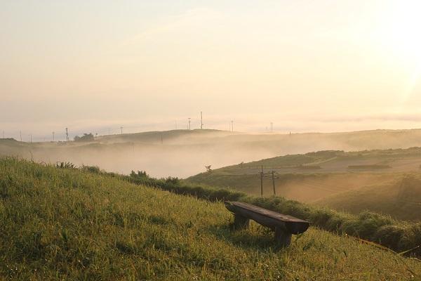 大観峰(だいかんぼう)、朝日と霧に包まれた様子
